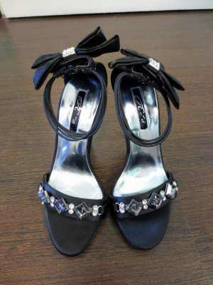 Strapped High-Heeled Sandals black-silver-colored