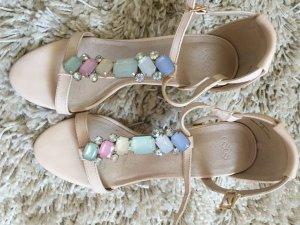 Asos Sandalo con tacco alto e lacci a T rosa pallido-verde-grigio