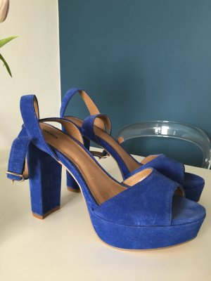 Akira Platform High-Heeled Sandal blue leather