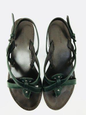 Sandaletten / Riemchensandalen von Bottega Veneta, tannengrün, Gr. 40, Leder