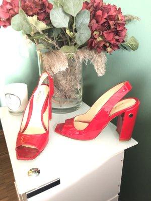 Sandaletten, rot Lack, Blockabsatz, weich/bequem, Kallisté