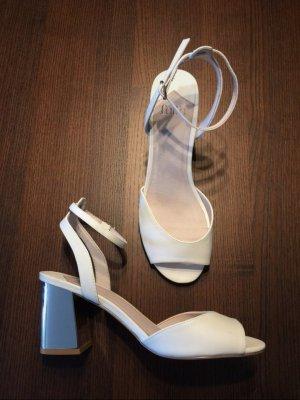 Sandaletten, Sandalen, heels, weiß, silber, Blockabsatz, faith