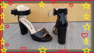 Sandaletten/Sandalen/Peeptoes echtes schwarzes Lack-Leder , Gr. 37, wie NEU!