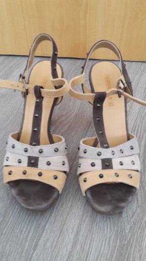 Sandaletten/Sandalen/Peeptoes in pastellfarben, Gr. 37, Nieten, echt Leder!!!