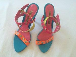 Sandaletten Sandalen Riemchenpumps mit High Heels Neon Steine NEU