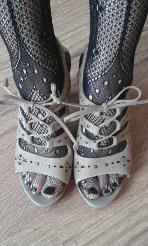 Sandalo infradito con tacco alto sabbia Pelle