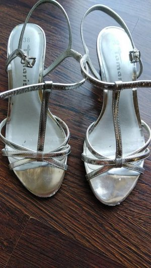 Tamaris Strapped High-Heeled Sandals silver-colored
