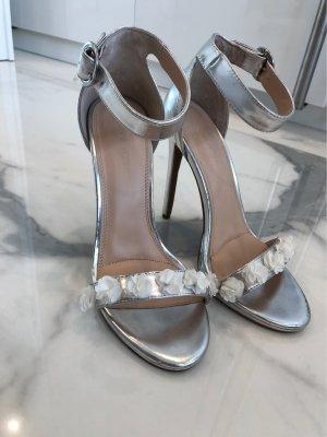 Sandaletten Silber Gr. 39 mit Blumen
