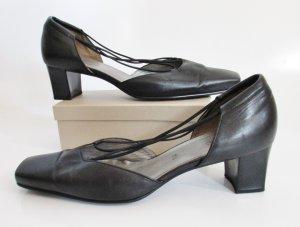Sandaletten Tamaris Größe 7,5 / 41 Leder Schwarz Eckig Pumps Sommer Riemchen Schuhe Business Gummi