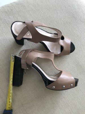 Sandaletten taupe leder gr 40 neuwertig