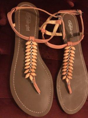 Buffalo girl High-Heeled Toe-Post Sandals multicolored