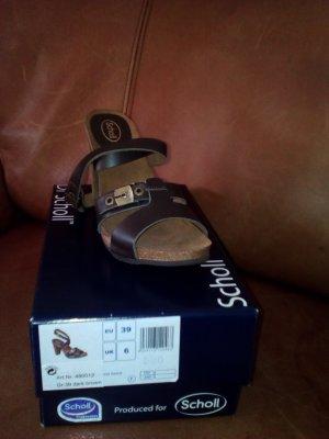 Scholl High-Heeled Sandals dark brown leather