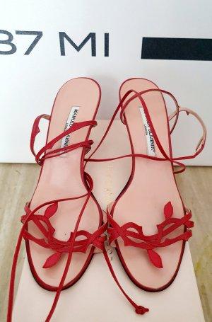 Sandaletten von manolo blahnik gr. 37,5 leder Rot