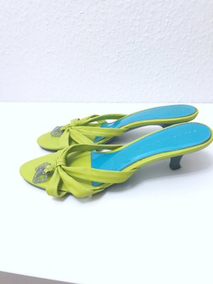 Sasha High-Heeled Toe-Post Sandals grass green-lime-green leather