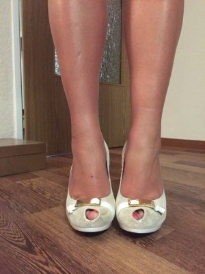 High-Heeled Sandals primrose-white leather