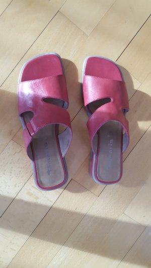 Tamaris Wedge Sandals neon red-dark red leather
