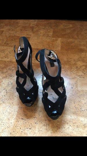 Zara Platform High-Heeled Sandal black-nude