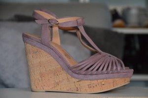 Sandaletten / Wedges aus Kork und Wildleder