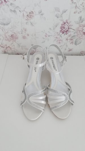 Strapped High-Heeled Sandals white-silver-colored
