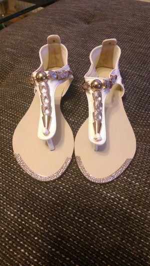 High-Heeled Toe-Post Sandals white-gold-colored