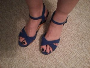 Young Spirit Strapped High-Heeled Sandals blue-pink suede