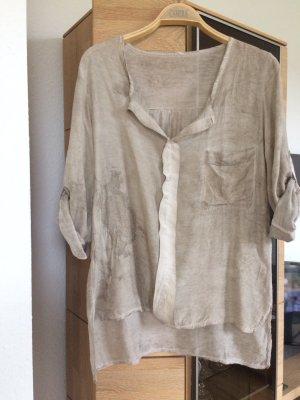 Sandfarbene Bluse aus Seide und Baumwolle
