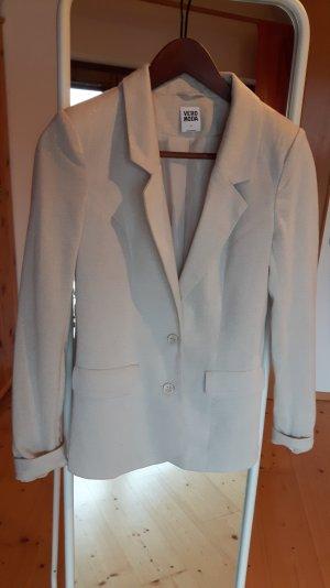 Sandfarbener Jersey Blazer mit silbernem Glitzergarn