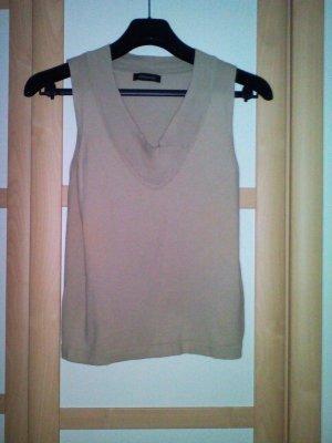 Sandfarbenes Shirt -Top ohne Arme, mit V-Ausschnitt, Superschön