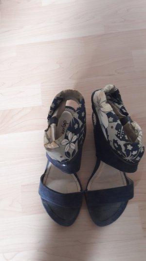 High-Heeled Sandals steel blue-oatmeal
