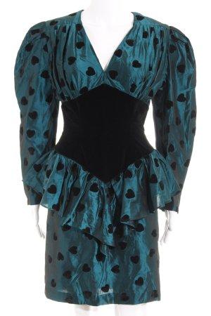 Sandra Pabst Peplum jurk petrol-zwart Herzmuster extravagante stijl
