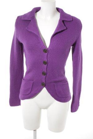 Sandra Pabst Strickjacke violett Zopfmuster Casual-Look