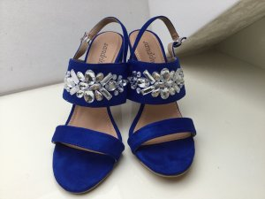 High-Heeled Sandals blue-white textile fiber