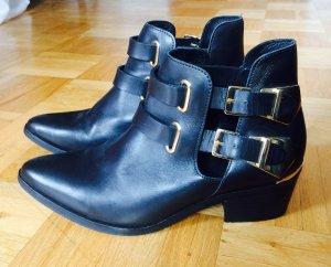 Sandro Ankle Boots Cut-Out Leder schwarz Gold Gr.39