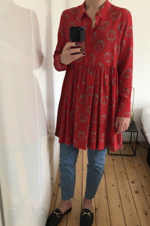 Sandro Bluse Hemd Tunika Kleid rot Print Blumen Peace oversize  NEU
