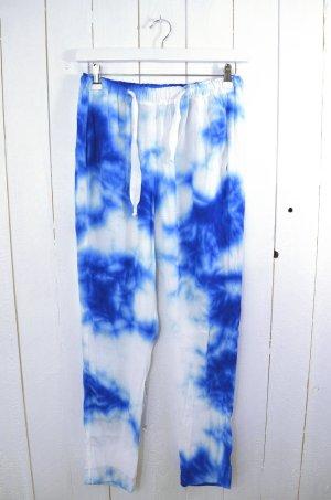 SANDRO Damen Hose Lässig Weit Gummizug Blau Weiß Batik Viskose Gr.2/ 38