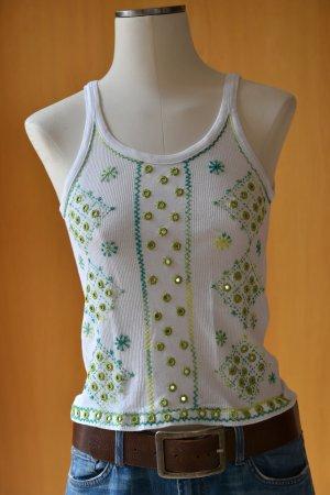 SANDRO FERRONE Gr.36 handbesticktes Trägertop Rippshirt weiß grün