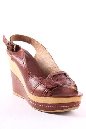 Sandro Ferrone Wedge Sandals brown-light brown casual look