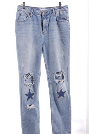 Sandro High Waist Jeans hellblau Sternenmuster Destroy-Optik