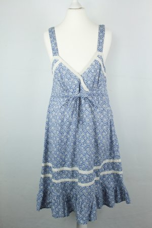 Sandro Kleid Trägerkleid Gr. 2 / dt 38 blau weiß boho
