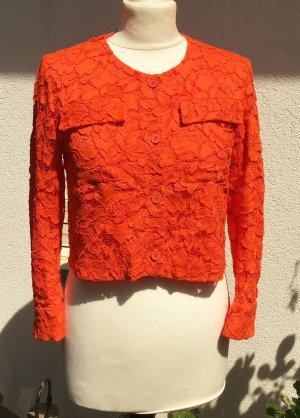 * SANDRO * kurze SOMMER JACKE hell orange  neon SEIDE SPITZE Gr 34 ( 36 )