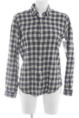 Sandro Camisa de manga larga blanco-azul oscuro estampado a cuadros look casual