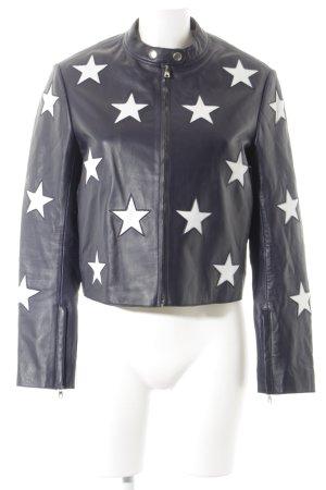 Sandro Veste en cuir bleu foncé-beige clair Motif d'étoiles