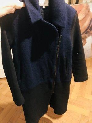 Sandro Mantel Gr 36 blau schwarz knielang