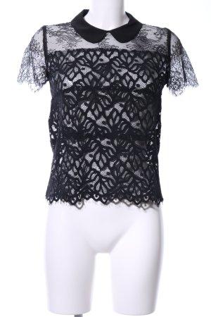 Sandro Netzshirt schwarz extravaganter Stil