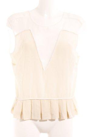 Sandro Paris ärmellose Bluse creme-wollweiß klassischer Stil
