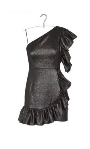 Sandro Paris Kleid Effie M Neu metallic silber asymmetrisch 2 rüschen gerafft cocktail 38