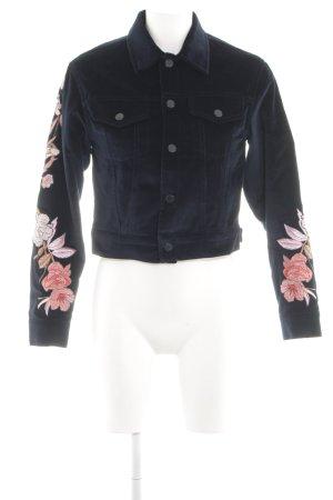 Sandro Paris Kurzjacke blau-pink Blumenmuster Casual-Look