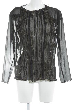 Sandro Paris Langarm-Bluse schwarz-goldfarben Streifenmuster Elegant