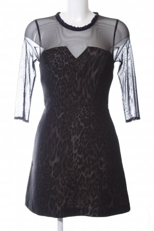 Sandro Paris Minikleid schwarz-braun Leomuster extravaganter Stil