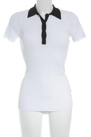 Sandro Paris Polo-Shirt weiß-schwarz Zopfmuster klassischer Stil